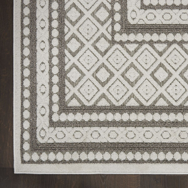 Calobra Light Gray and White 2 Ft. 2 In. x 7 Ft. 6 In. Indoor/Outdoor Runner Rug, image 4