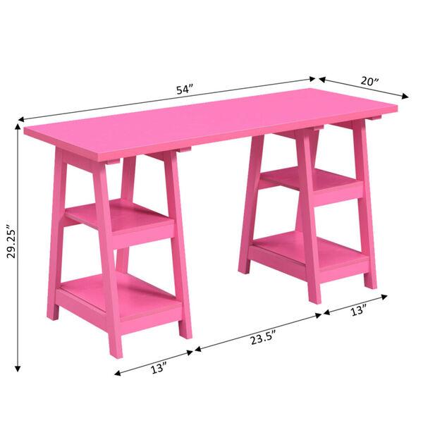 Designs2Go Pink Double Trestle Desk, image 4