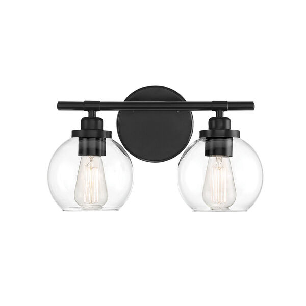 Carson Matte Black Two-Light Bath Vanity, image 1