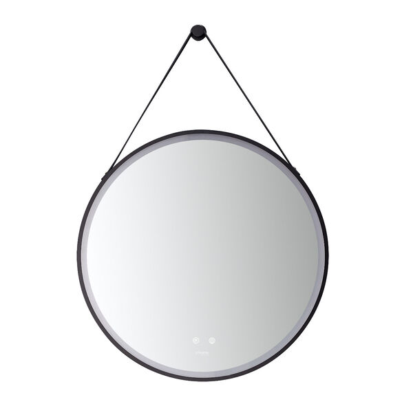 Sangle Black 30-Inch Round LED Framed Mirror with Defogger and Vegan Leather Strap, image 4