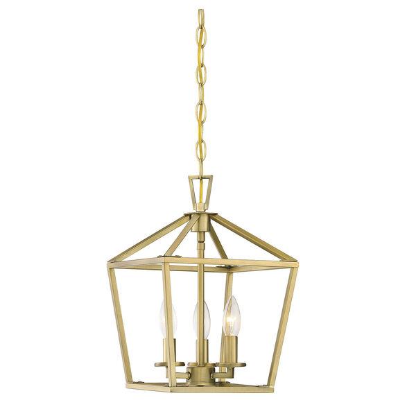 Townsend Warm Brass 10-Inch Three-Light Pendant, image 1