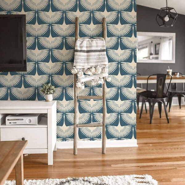 Feather Flock Denim Blue 28 Sq. Ft. Peel and Stick Wallpaper, image 3