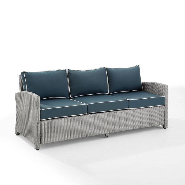 Bradenton Gray and Navy Outdoor Wicker Sofa, image 6