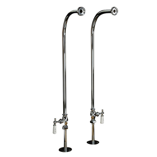 Polished Chrome Tub Kit 60-Inch Cast Iron Slipper, Tub Filler, Supplies, and Drain, image 2
