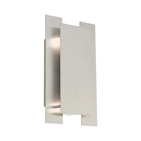Varick Brushed Nickel Eight-Inch Two-Light ADA Wall Sconce with Brushed Nickel Metal Shade, image 4