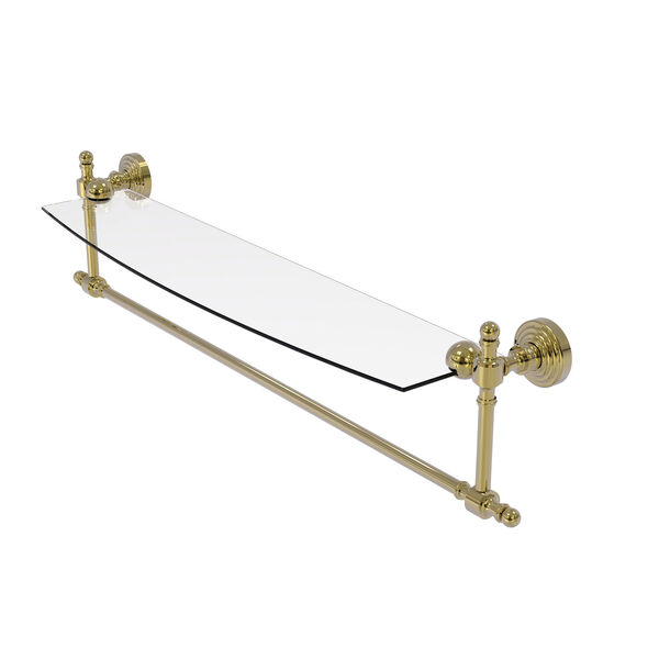 Retro Wave Unlacquered Brass 24-Inch Glass Vanity Shelf with Integrated Towel Bar, image 1