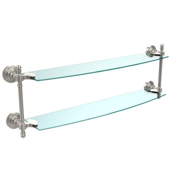 Retro Wave Polished Nickel 24 Inch x 5 Inch Double Glass Shelf, image 1