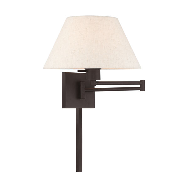 Swing Arm Wall Lamps Bronze 13-Inch One-Light Swing Arm Wall Lamp with Hand Crafted Oatmeal Hardback Shade, image 1