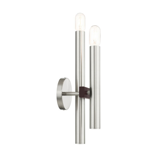 Helsinki Brushed Nickel and Bronze Two-Light Wall Sconce, image 6