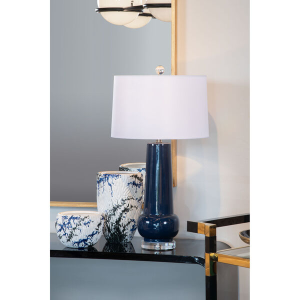 Classic Blue Glaze and White One-Light Table Lamp, image 5