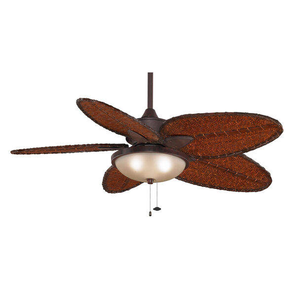 Windepointe Rust Ceiling Fan with Narrow Oval Antique Bamboo Blades, image 5