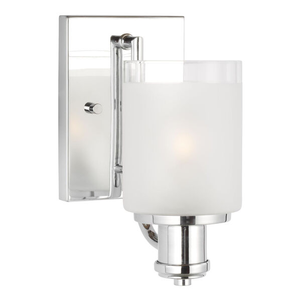 Norwood Chrome One-Light Bath Vanity with Clear Highlighted Satin Etched Shade, image 2