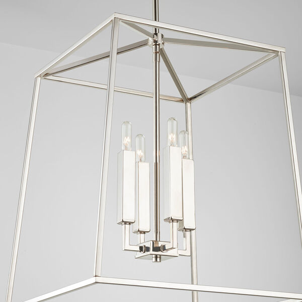 Thea Polished Nickel 71-Inch Four-Light Foyer Pendant, image 5