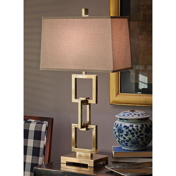 Antique Brass Square Link Lamp, image 2