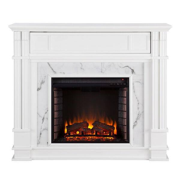 Highgate White Faux Cararra Marble Electric Media Fireplace, image 2