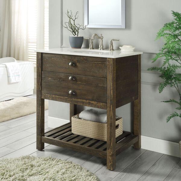 One Drawer Single Vanity Sink in Brown, image 2