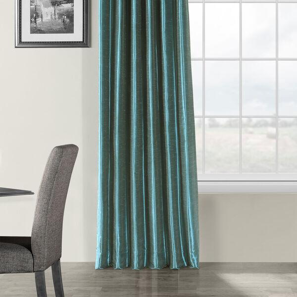 Peacock Vintage Textured Faux Dupioni Silk Single Panel Curtain, 50 X 108, image 5