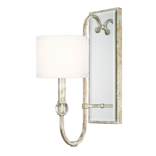 Charleston Silver and Gold Leaf One-Light Wall Sconce, image 1