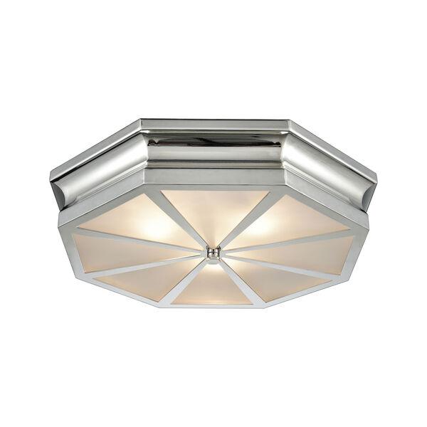 Windsor Polished Nickel 20-Inch Three-Light Flush Mount, image 1