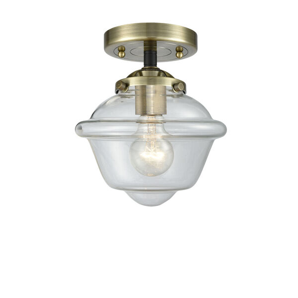 Nouveau Black Antique Brass Eight-Inch LED Semi-Flush Mount with Clear Small Oxford Shade, image 1