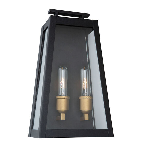Charlestown Black and Vintage Gold Two-Light Outdoor Wall Light, image 1