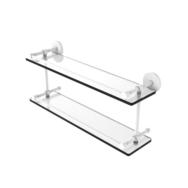Prestige Skyline Matte White 22-Inch Tempered Double Glass Shelf with Gallery Rail, image 1