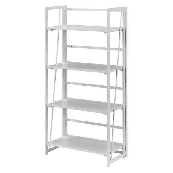 Xtra White Folding Four Tier Bookshelf, image 1