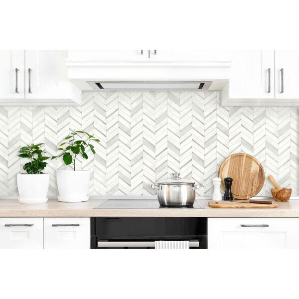 NextWall Gray Chevron Marble Tile Peel and Stick Wallpaper, image 1