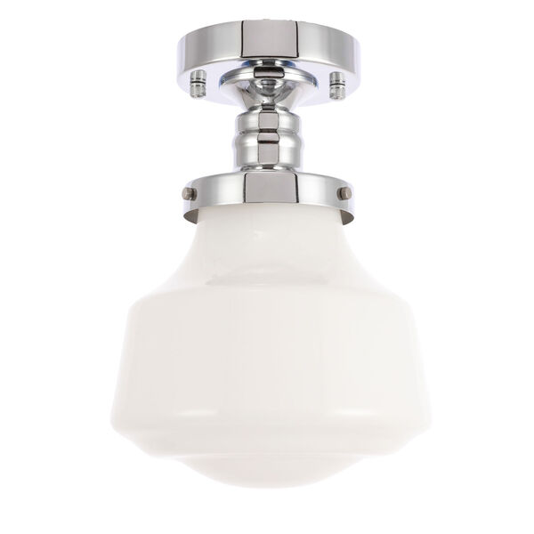 Lyle Chrome Eight-Inch One-Light Flush Mount with Frosted White Glass, image 5