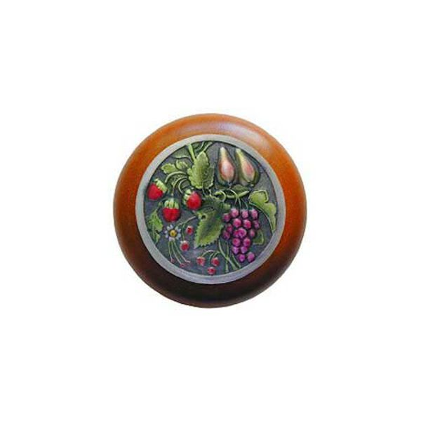 Cherry Wood Tuscan Bounty Knob with Pewter, image 1