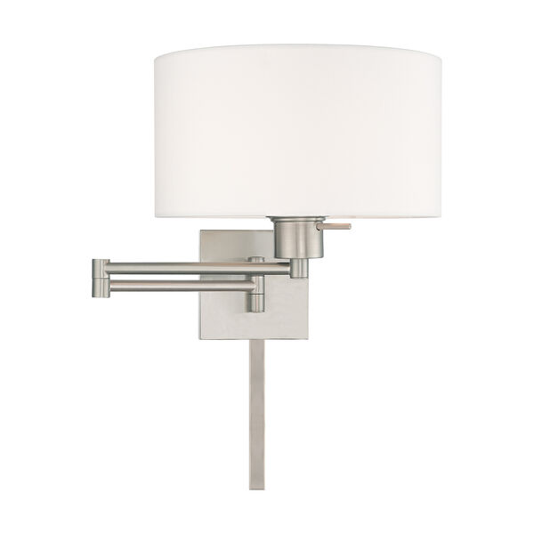 Swing Arm Wall Lamps Brushed Nickel 11-Inch One-Light Swing Arm Wall Lamp with Hand Crafted Off-White Hardback Shade, image 3