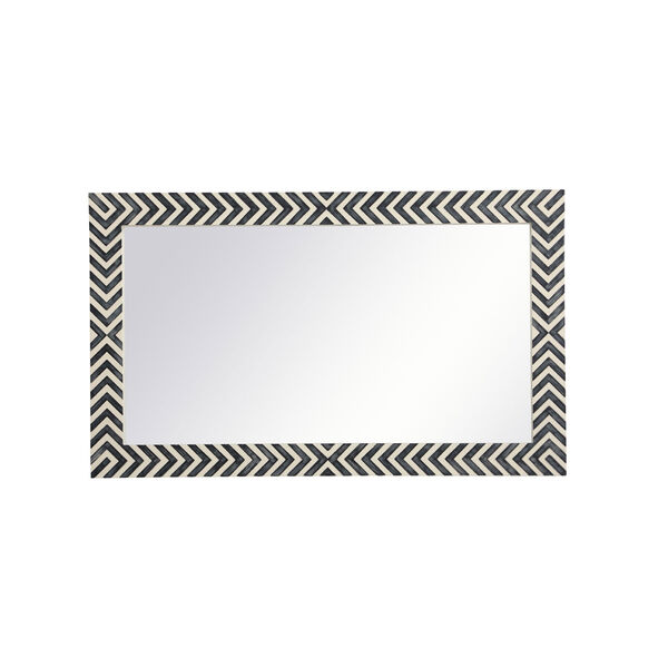 Colette Chevron 24 x 40 Inches Glass and Wood Rectangular Mirror, image 6
