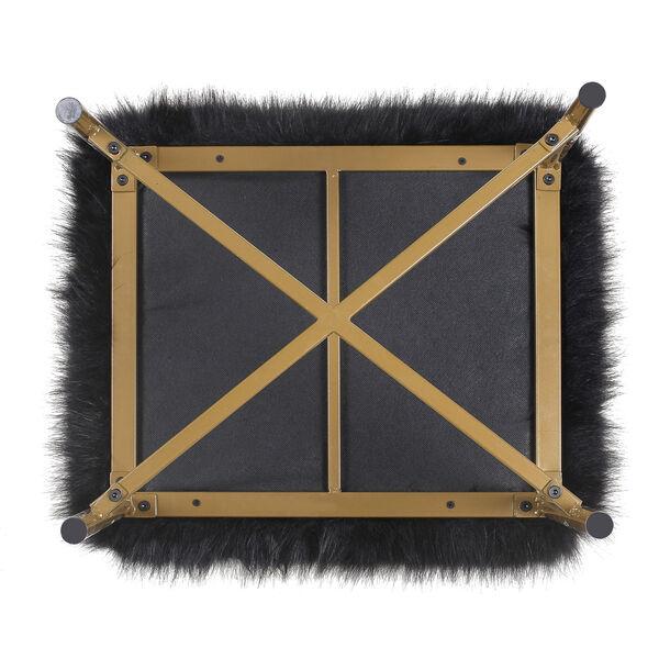 Faux Fur Square Ottoman - Black, image 5