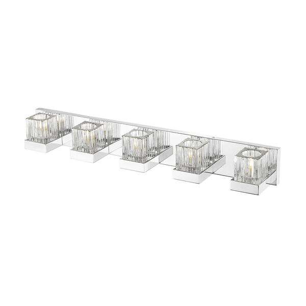 Fallon Chrome Five-Light Vanity With Transparent Ribbed + Frosted Crystal, image 3