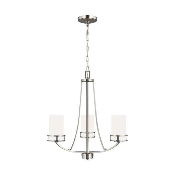 Robie Brushed Nickel Three-Light Chandelier with Etched White Inside Shade Energy Star, image 1