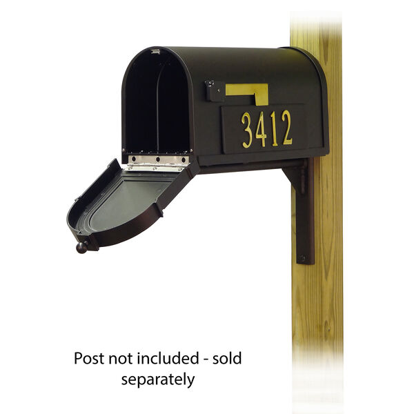 Curbside Black Mailbox with Front and Side Address Number and Ashley Front Single Mounting Bracket, image 2