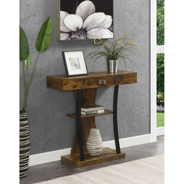 Newport Harri Barnwood and Black One Drawer Console Table with Shelves, image 1
