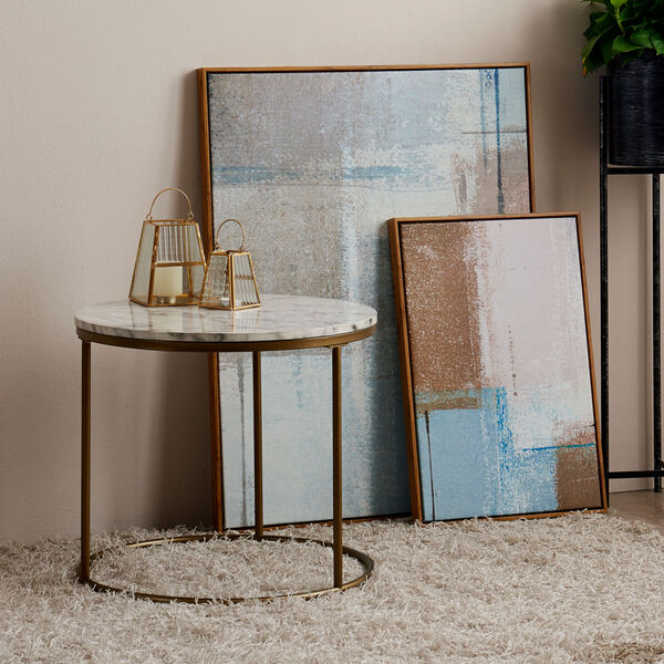 Marmo Faux Marble and Brass Round Side Table with Faux Marble, image 4