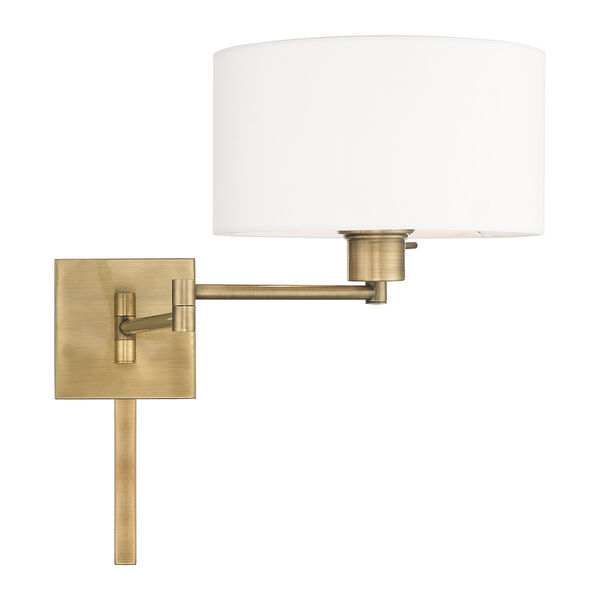 Swing Arm Wall Lamps Antique Brass 11-Inch One-Light Swing Arm Wall Lamp with Hand Crafted Off-White Hardback Shade, image 5