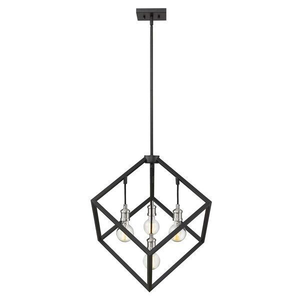 Vertical Matte Black and Brushed Nickel 24-Inch Four-Light Pendant, image 4