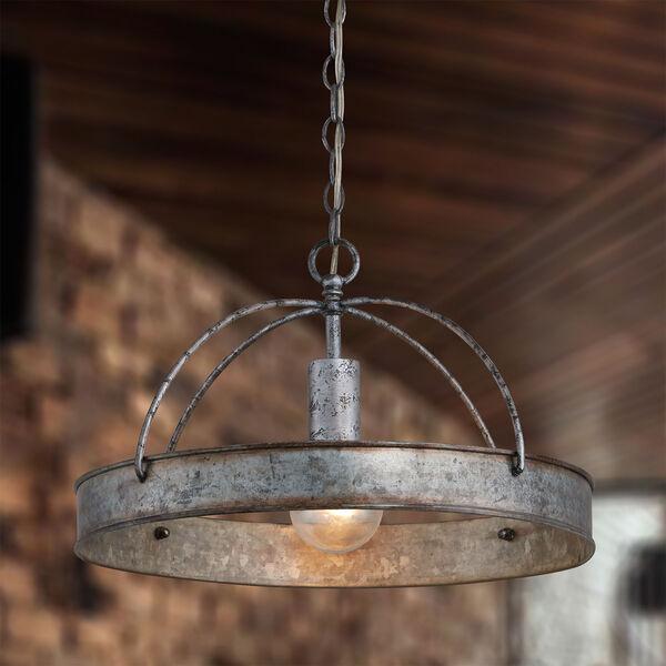 Alvin Antique Galvanized Metal Ring One-Light Pendant, image 3