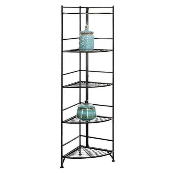 Designs2go Black Five-Tier Folding Metal Corner Shelf Media Tower, image 2