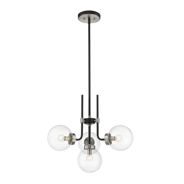 Parsons Matte Black and Brushed Nickel Four-Light Chandelier, image 1