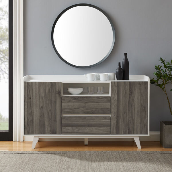 Friday Solid White and Slate Grey Two Door Sideboard, image 3