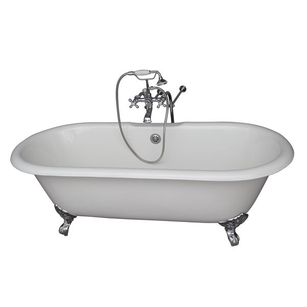 Polished Chrome Tub Kit 61-Inch, Cast Iron Double Roll Top, Filler, Supplies, and Drain, image 1