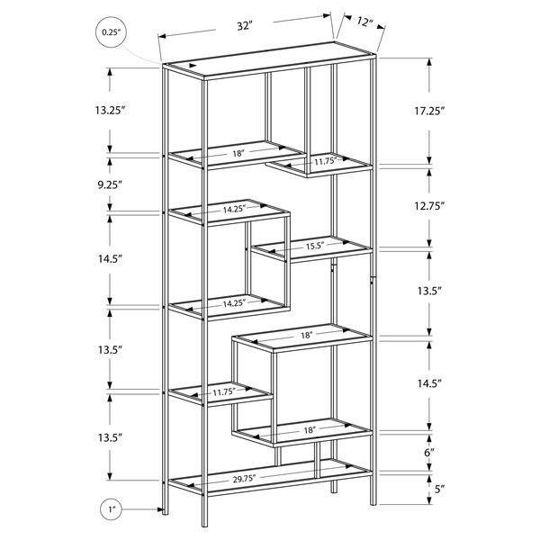 Bookcase - 72H / Silver Metal with Tempered Glass, image 3