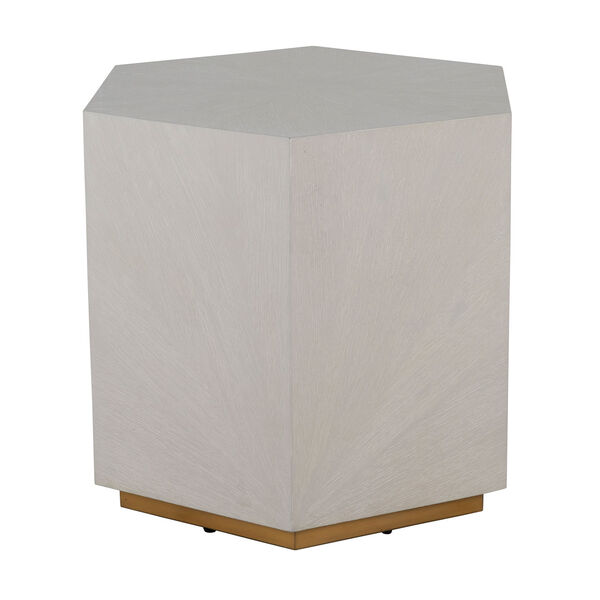 Winslet Cerused White and Stain Gold 26-Inch Side Table, image 1