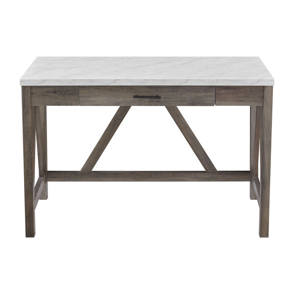 A-Frame Faux White Marble and Grey Wash 46-Inch Computer Desk with Drawer, image 5