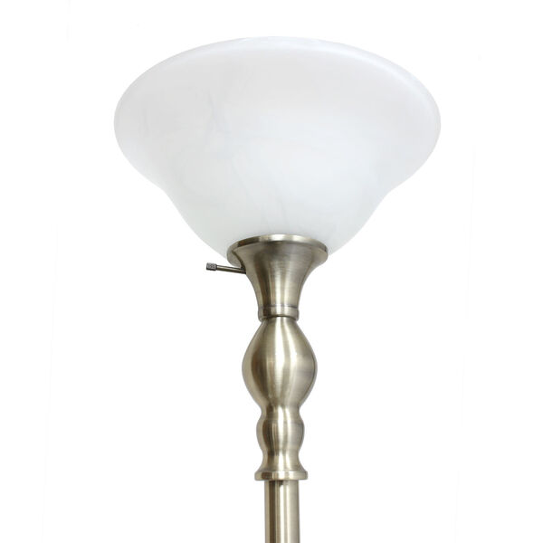 Quince Antique Brass White Shade One-Light Floor Lamp, image 5