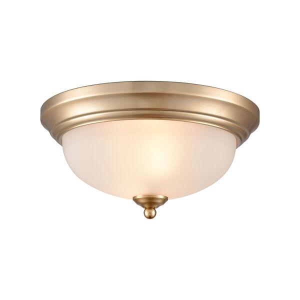 Huntington Satin Gold 11-Inch Two-Light Flush Mount, image 1